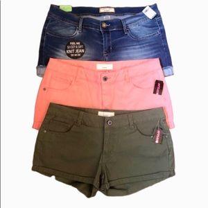 NWT 3 pair shorts jr. size 11